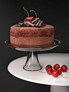 3D model cherry chocolate mousse cake