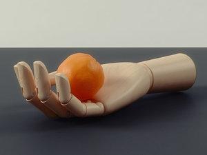 3D hay wooden hand