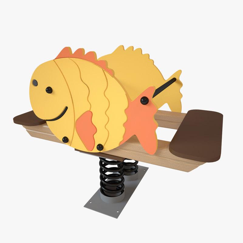 3D playground spring fish model