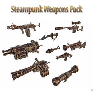 steampunk weapon pack sniper rifle 3D