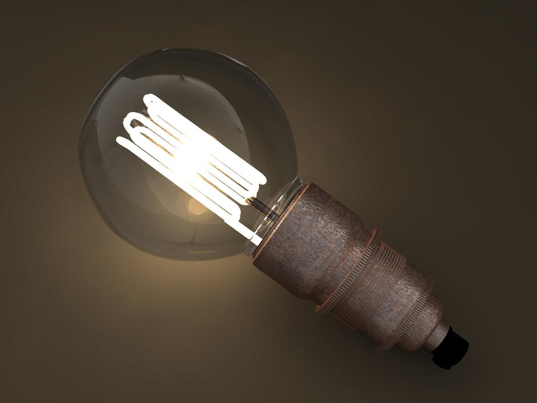 3D model eco-filament globe shaped bulb