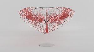3D martini glass splash