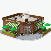 3D corner coffee shop model