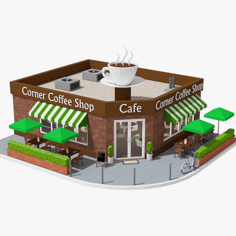 3D corner coffee shop model