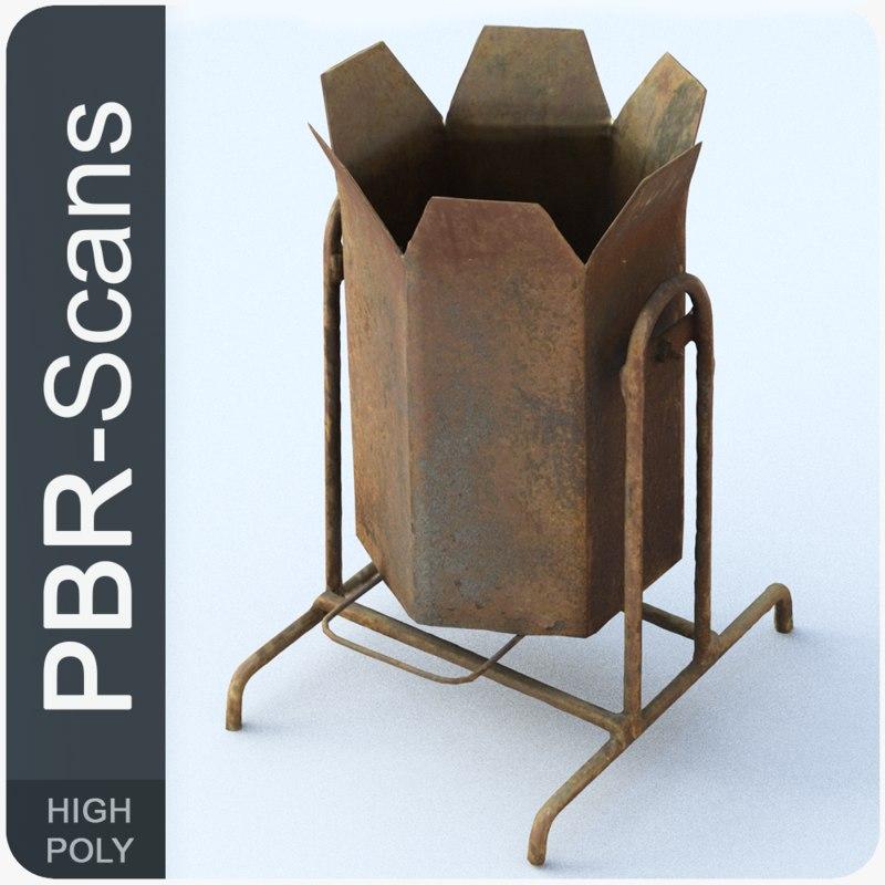 3D model rubbishbin old pbr