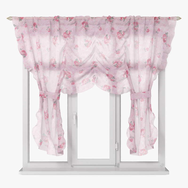 curtains pink chiffon 3D model