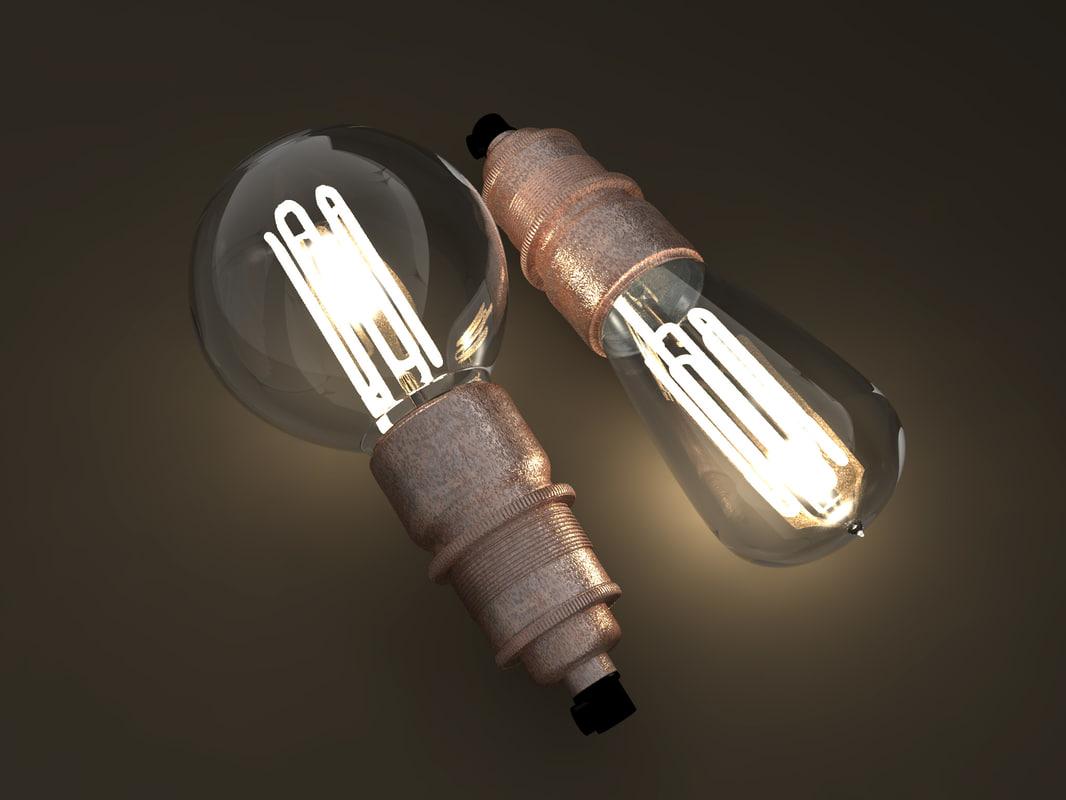 3D model eco-filament light bulbs