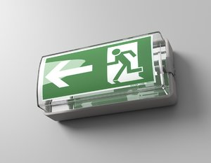 3D model emergency exit sign
