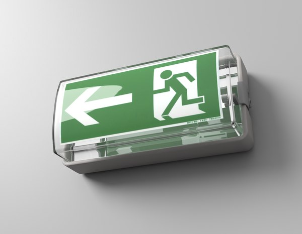 3D model emergency exit sign
