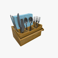 bamboo cutlery caddy 3D model