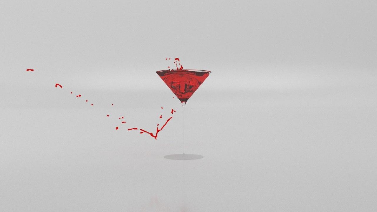 martini glass splash 3D