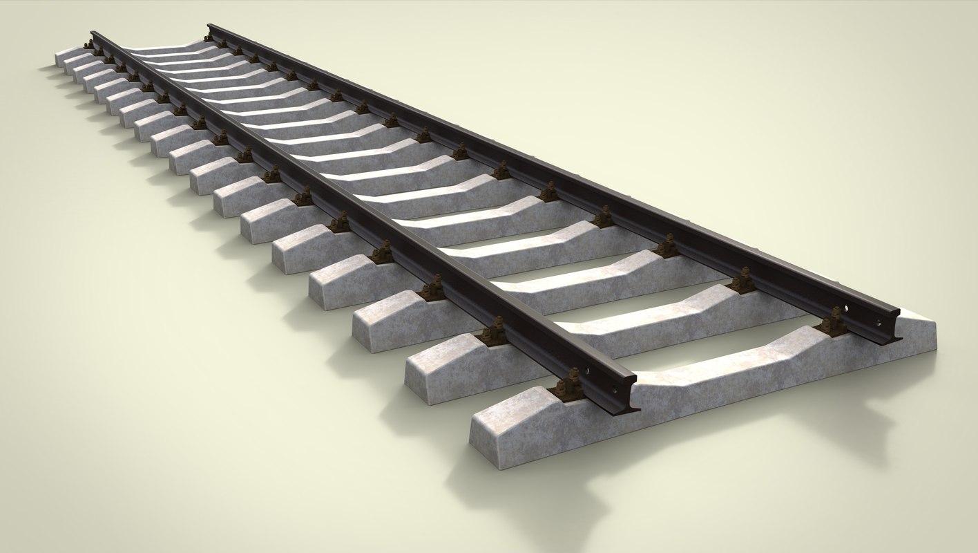 3D model railway rails