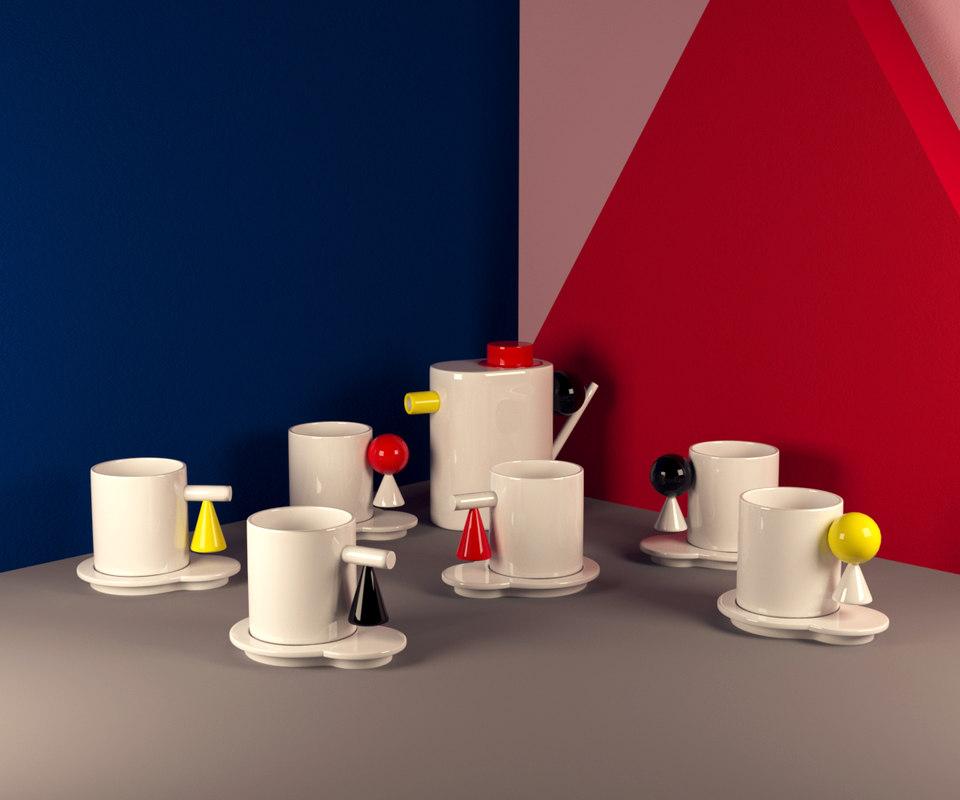 3D geometric tea set model