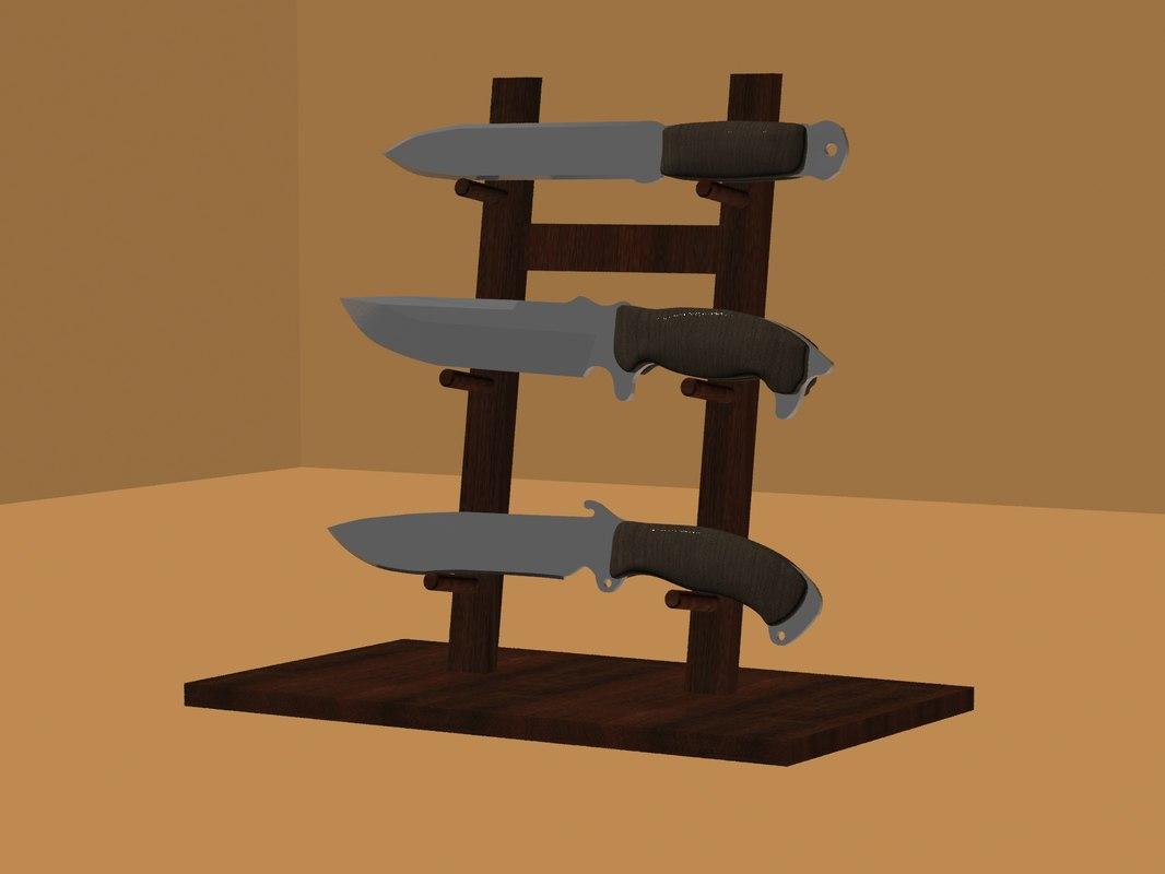 set 3 knives 3D model