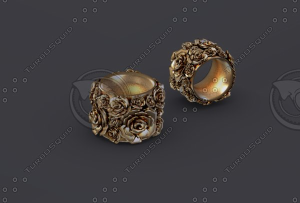 ring gold roses 3D