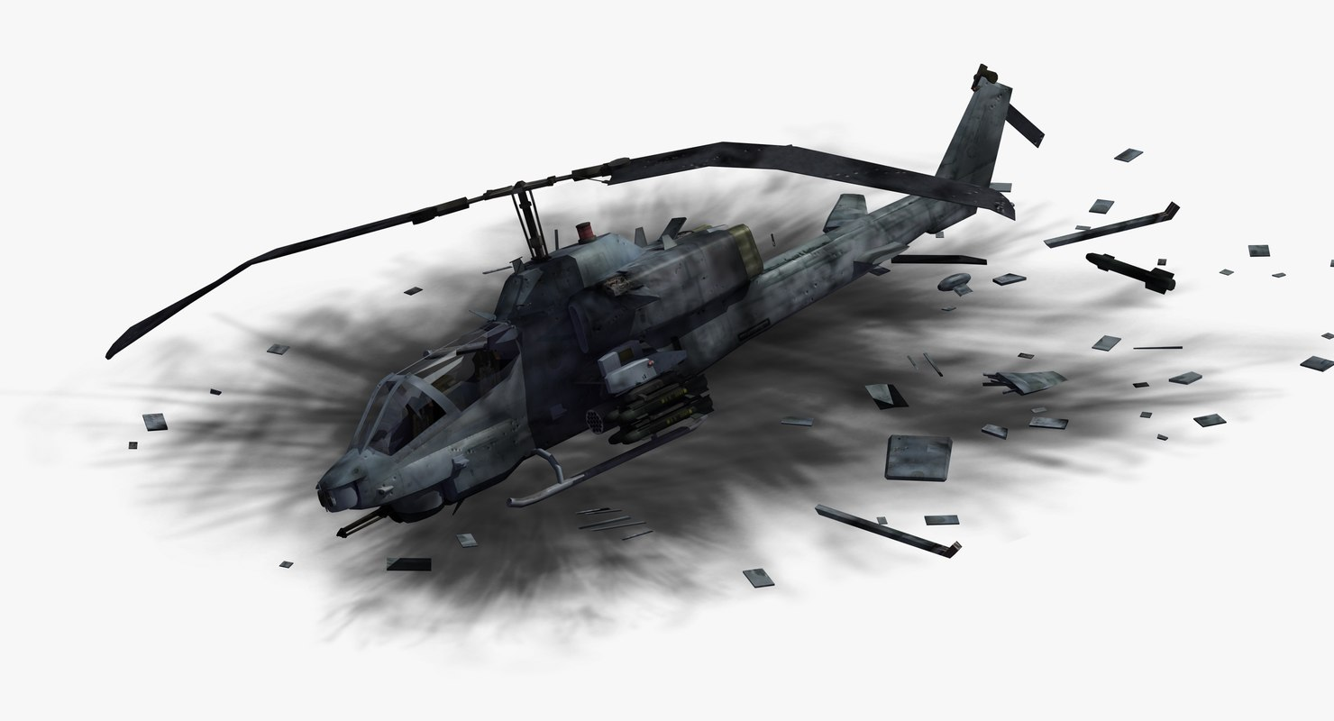 ah1w cobra helicopter crash 3D model