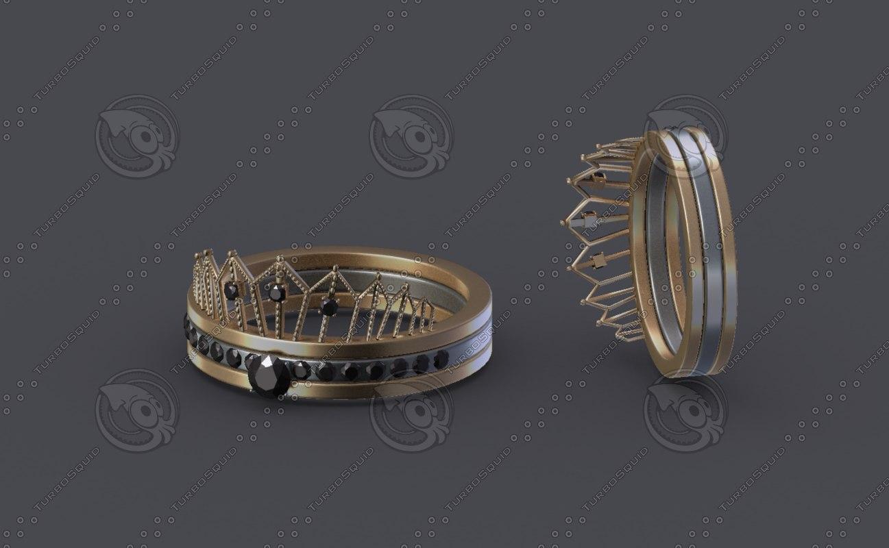 women ring gold 3D model