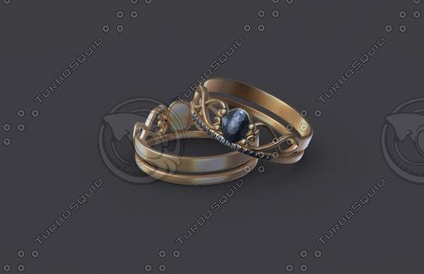 3D women ring gold model