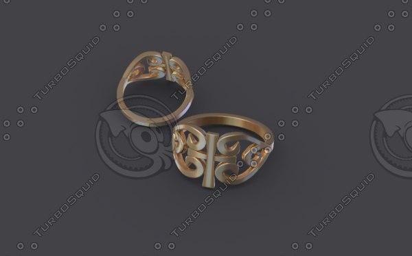 3D women ring gold