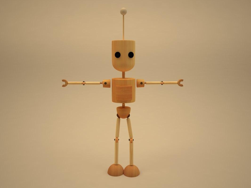 3D model wooden cartoon character