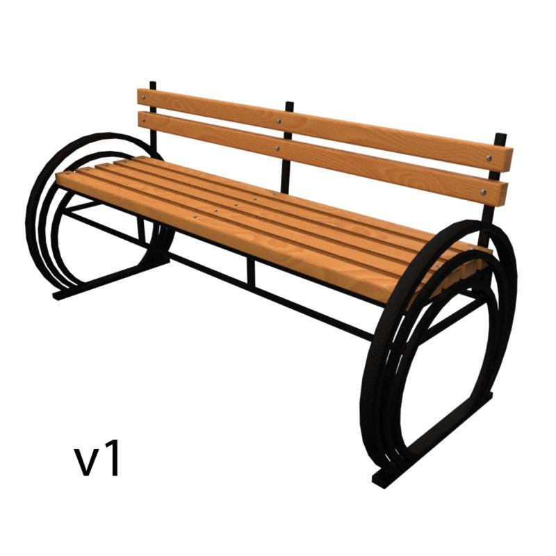 bench metallic 3D