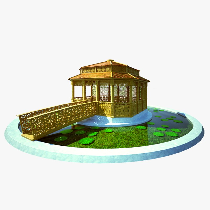 3D gazebo pond wood