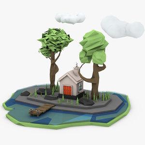 house lake trees 3D model