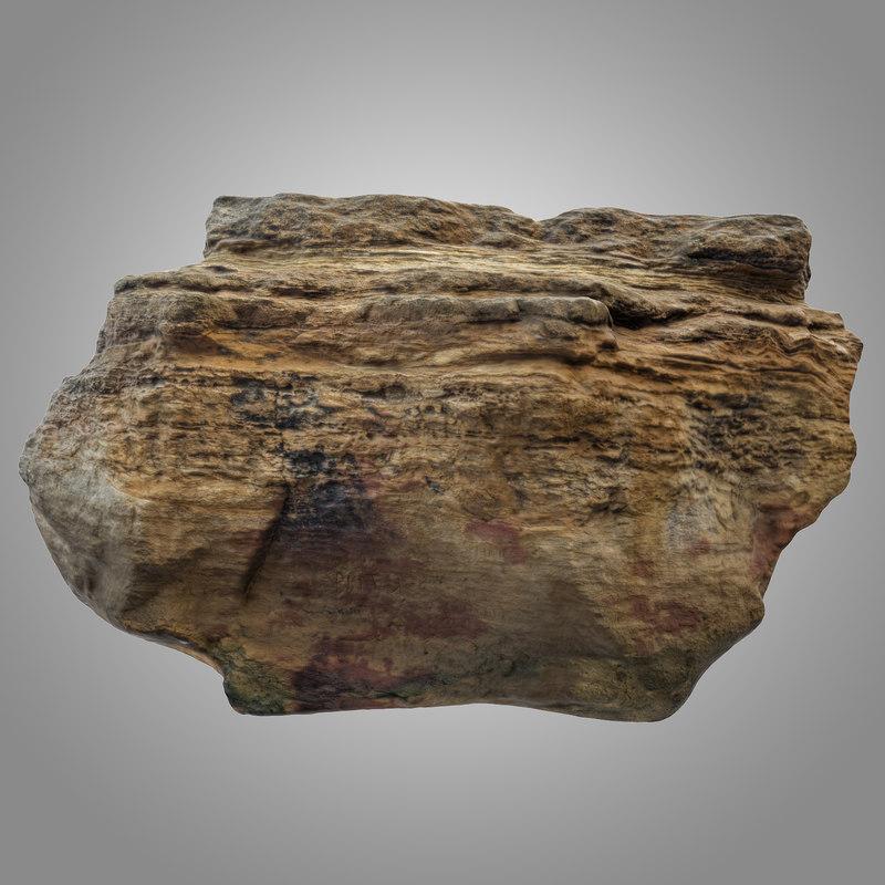 big limestone boulder 3D