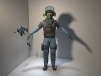 3D man soldier police