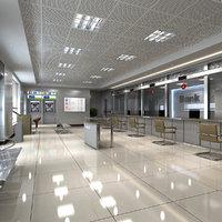 3D model bank interior