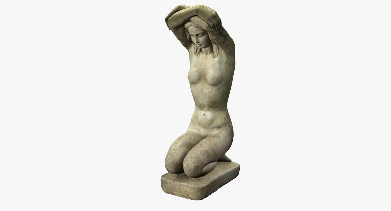 3D female stone statue model