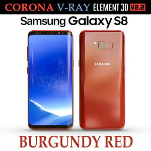 3D samsung galaxy s8 burgundy model