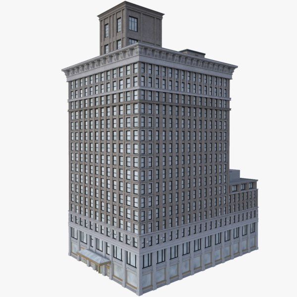 realistic bank building 3D model