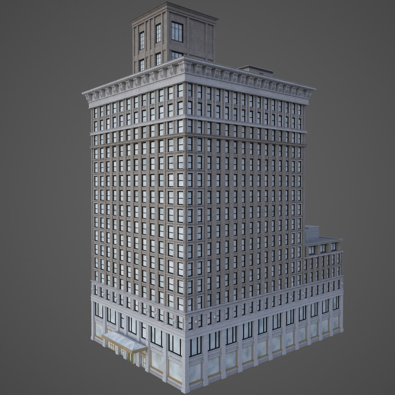 realistic bank building 3D model