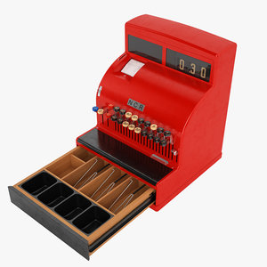 3D retro cash register model