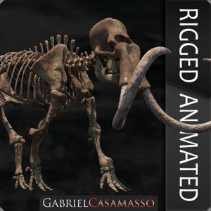 3D model complete mammoth skeleton animate