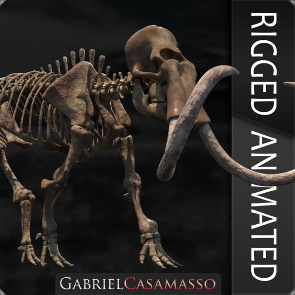 3D model complete mammoth skeleton animate