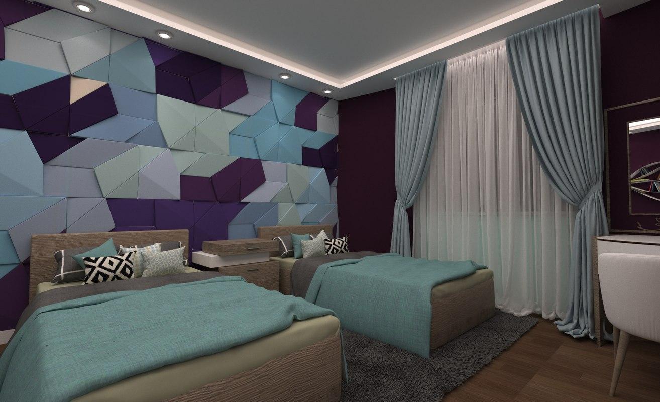 modern girls bedroom 3D model