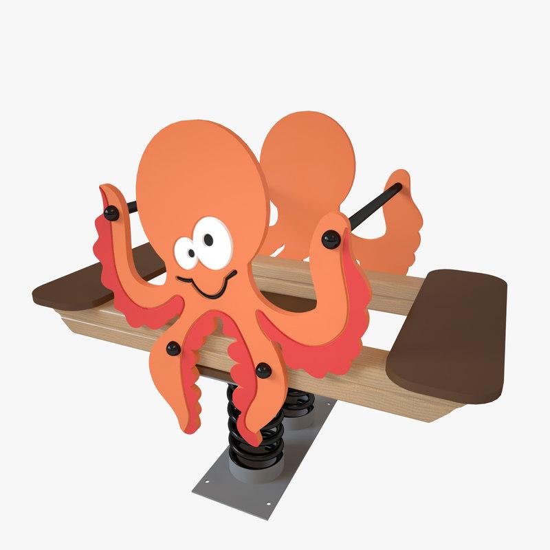 playground spring octopus 3D model