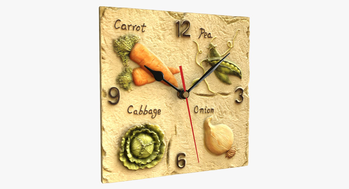 3D realistic fruit wall clock model