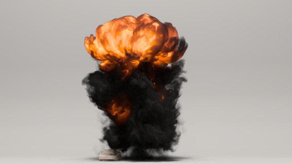 3D mushroom cloud explosion fumefx