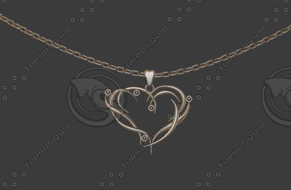3D heart pendant model