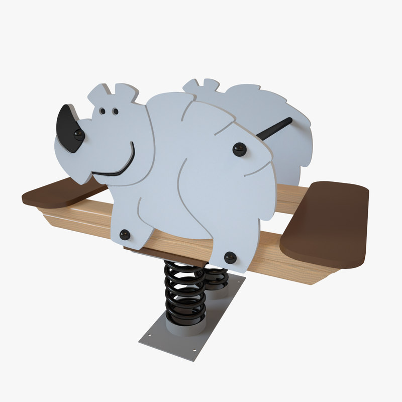 3D playground spring rhinoceros