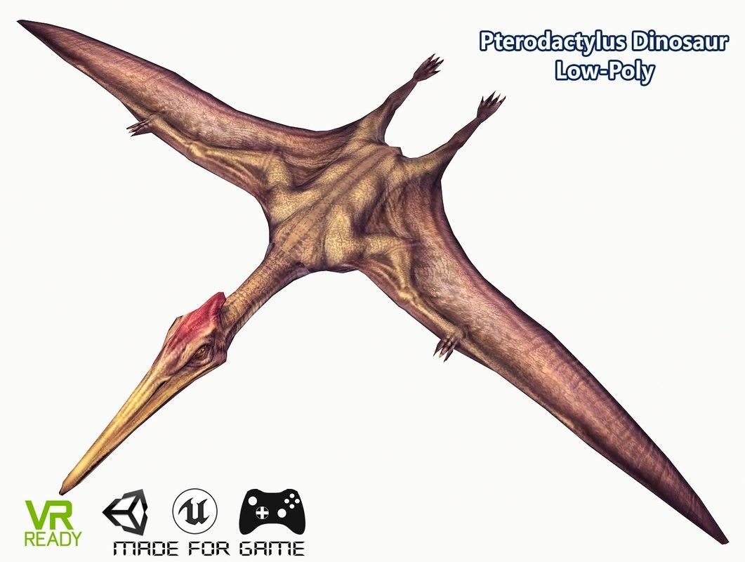 3D pterodactyl flying dinosaur model