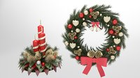 christmas wreath candle 3D model