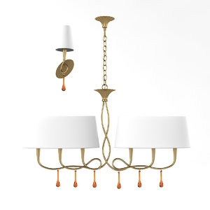 3D paola painted gold chandelier