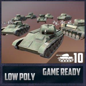 3D ussr toon light tanks model
