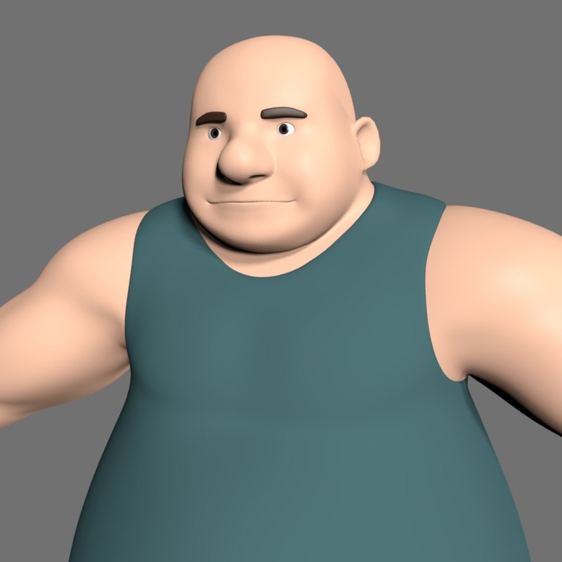 fat male cartoon 3D model