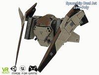 3D sci-fi spaceship dual jet