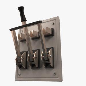 3D model triple electric knife switch